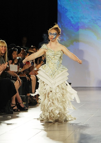 NEW YORK, NY - SEPTEMBER 13: Model Madeline Stuart walks the runway at Hendrik Vermeulen show during Spring 2016 during New York Fashion Week at Vanderbilt Hall at Grand Central Terminal on September 13, 2015 in New York City. (Photo by Chance Yeh/Getty Images)